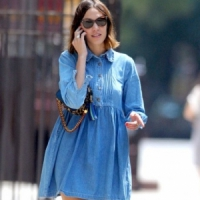 10 Celebrities Wearing Denim Dresses – Who Wore It Best? ...