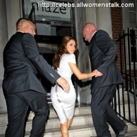 3 Photos of Tottering Eva's Escorted up the Stairs ...