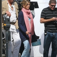 "7 Photos of Jennifer Aniston and Adam Sandler Filming ""Just Go with It""..."