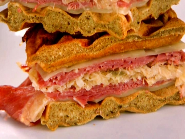 Pressed Reuben Waffle Sandwich