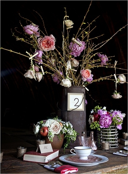 Rustic Water Pail Centerpiece