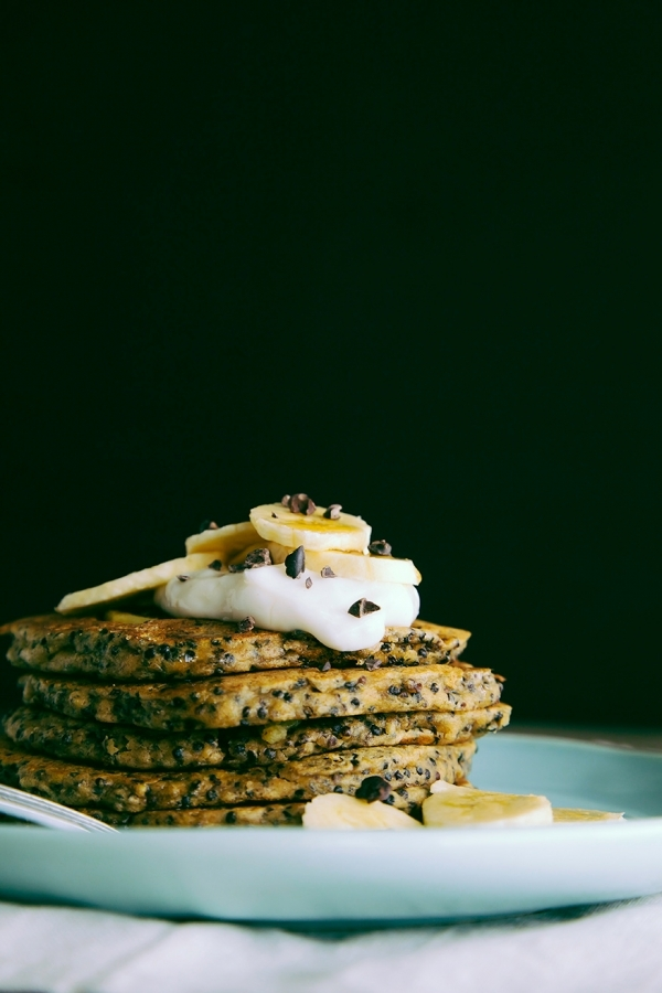 Coconut And Cacao Nibs Pancake Stack