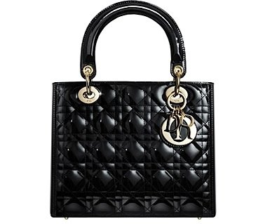 Dior Black Quilted Patent Lady Dior Bag