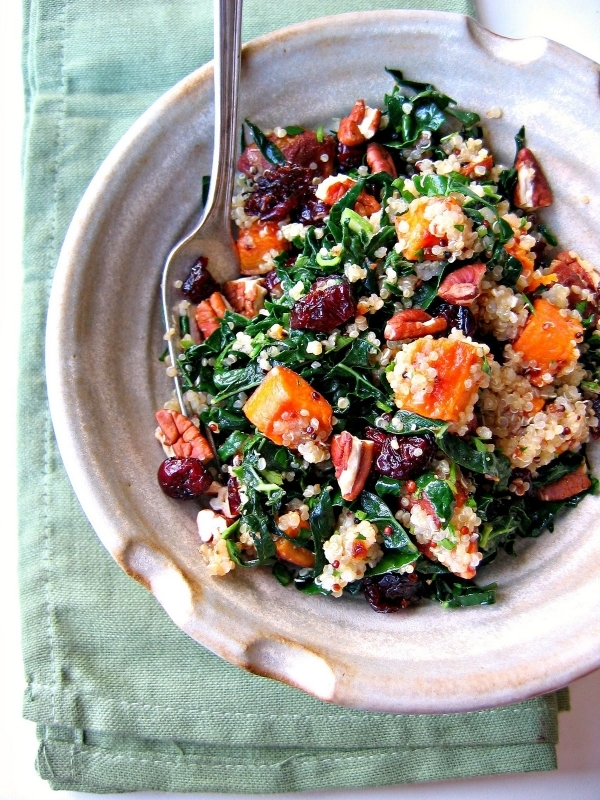 Roasted Sweet Potatoes with Cranberries, Quinoa, Kale, and Pecans
