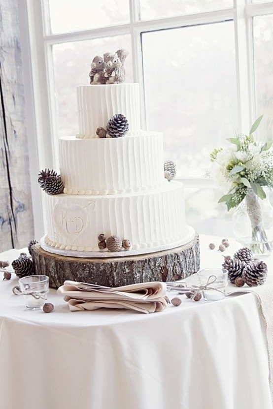 Pine Cone Rustic Wedding Cake - 23 Rustic Wedding Cakes to…