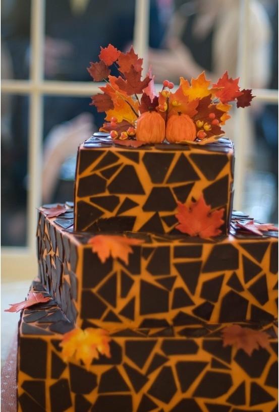 Fall Mosaic Rustic Wedding Cake
