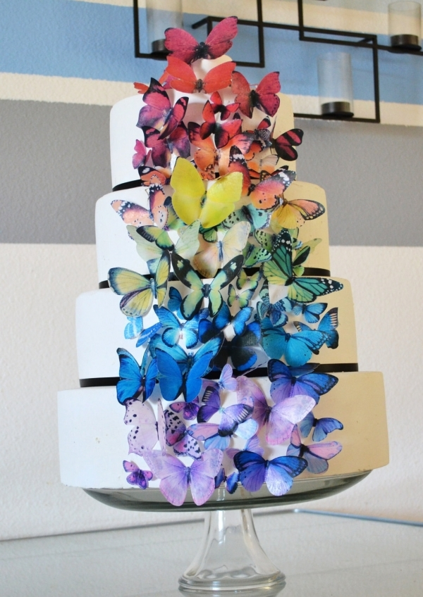 Butterfly Garden Rustic Wedding Cake