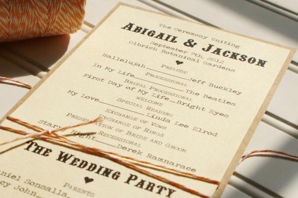 Unique Wedding Reception Program Ideas: 25 Country Rustic Wedding Theme Ideas