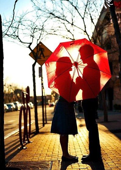 red, umbrella, flower,