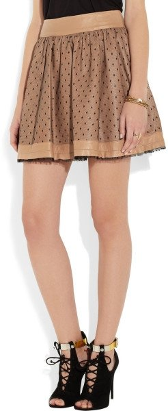 Valentino Leather and Tulle Mini Skirt