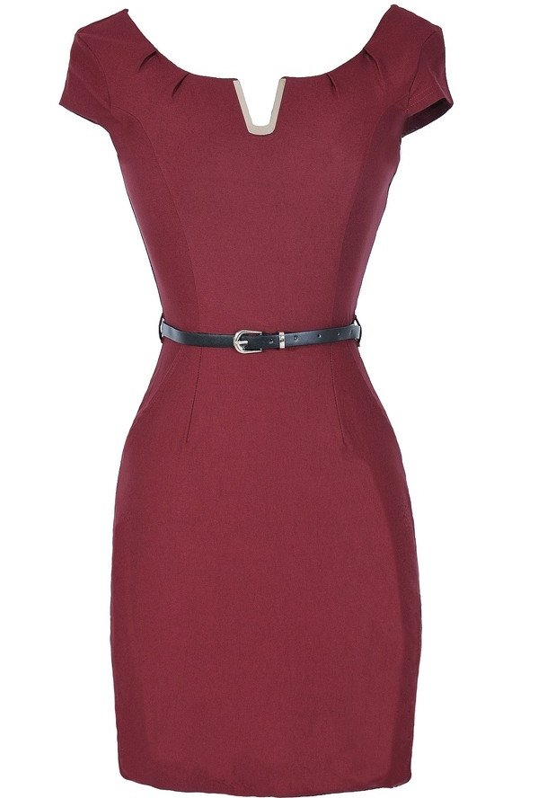 V for Victory Belted Pencil Dress