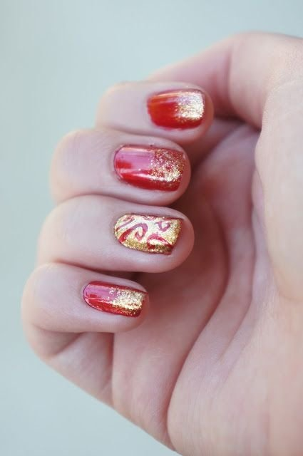Dark Red and Glittery Gold
