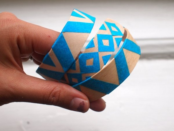 Washi Tape Wooden Bracelet
