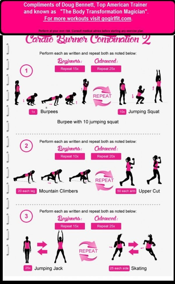 Cardio burners 19 best exercise infographics for your for Abdos fessiers a la maison
