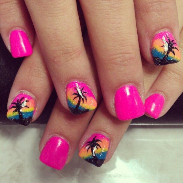All the best summer colors 40 awesome beach themed nail art nailcolorfingerpinknail care prinsesfo Image collections