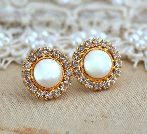 Gold Pearl Studs Crystal Stud Earrings Swarovski Crystal