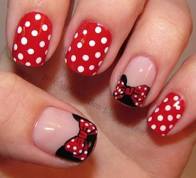 Minnie mouse here are the coolest 38 polka dot nail art minnie mouse nail prinsesfo Image collections