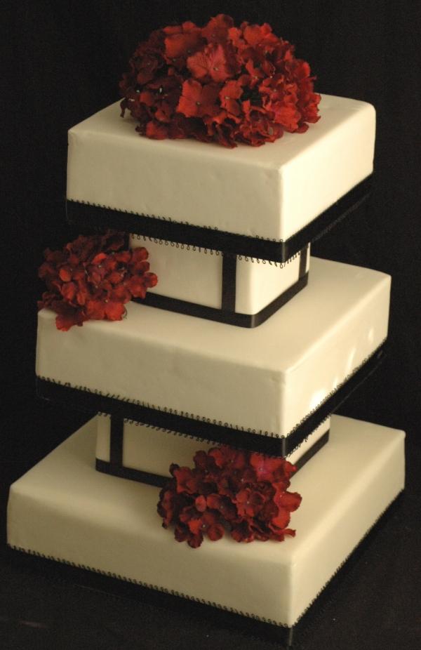 Black, White and Red Hydrangea Fondant Wedding Cake