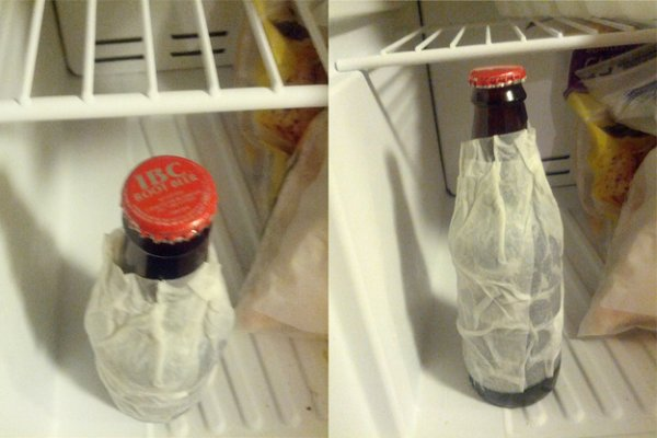 A Wet Paper Towel in the Freezer Will Cool down a Beer in Two Minutes