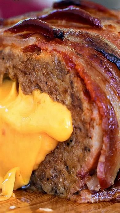 Grilled, Bacon-Topped Meatloaf Stuffed With Beer Cheese Recipe ...