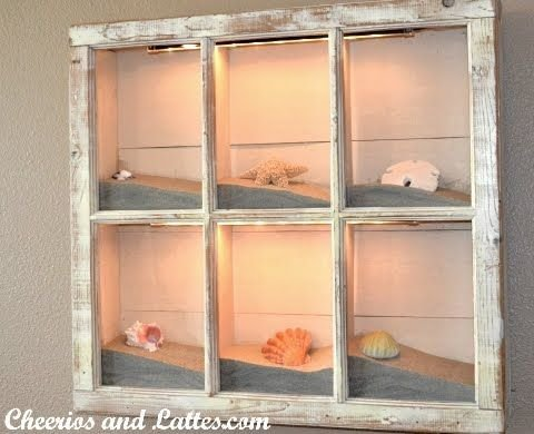 Fill an Old Frame with Some Sand and Shells and Add a Light
