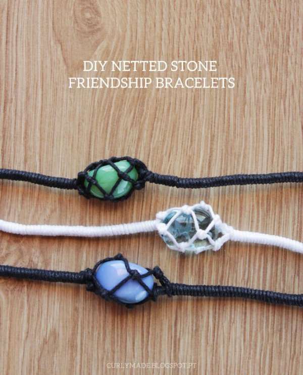 Netted Stone Macrame Friendship Bracelet