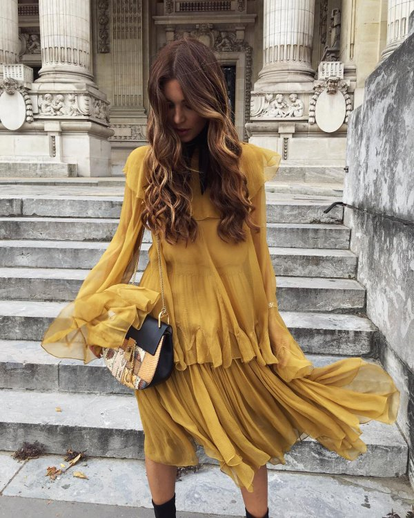 clothing, yellow, dress, sleeve, long hair,