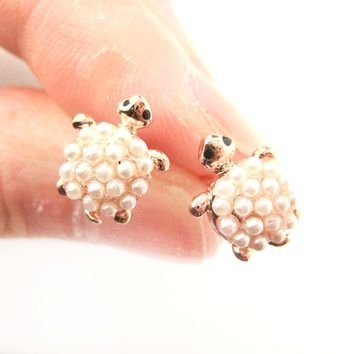 Turtle Tortoise Sea Animal Small Stud Earrings in Rose Gold with Pearls