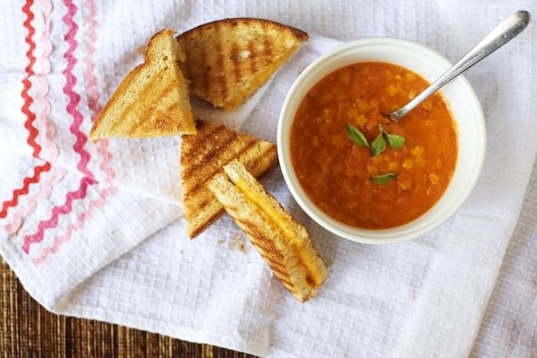 Tomato Soup and Grilled Cheese on Whole Grain Bread
