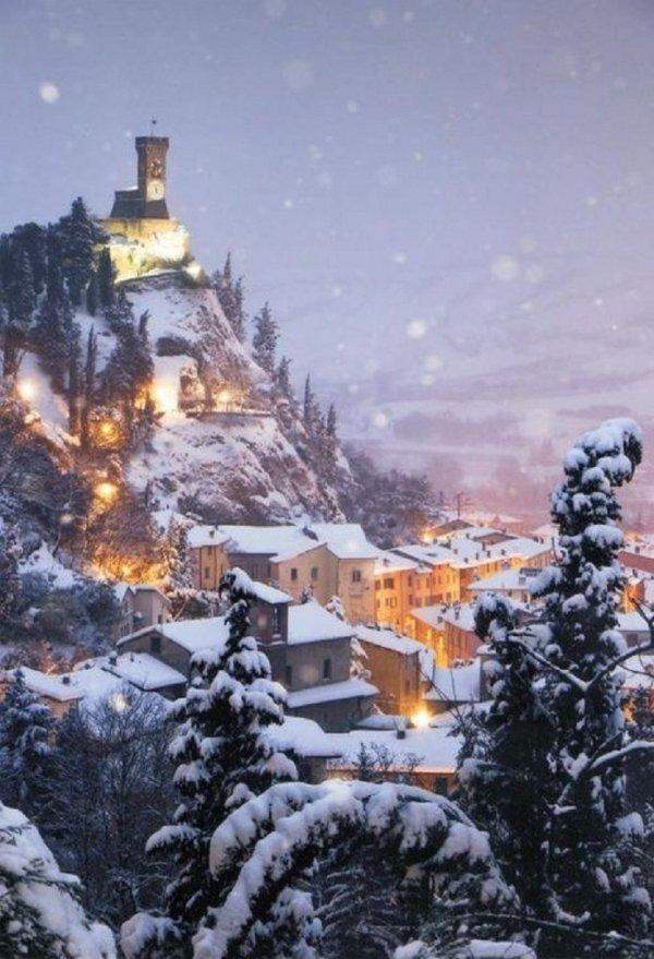 Snowy Night in Brisighella, Italy