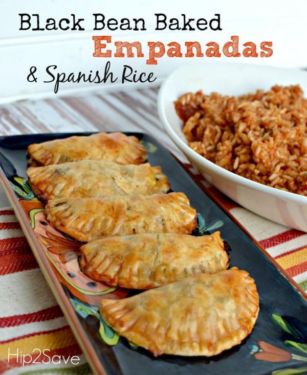 Black Bean Baked Empanadas & Spanish Rice