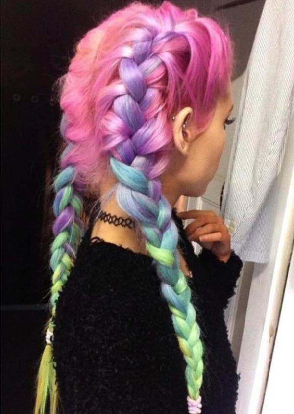 6 Double Pastel Rainbow Braids Rainbow Braids That Will