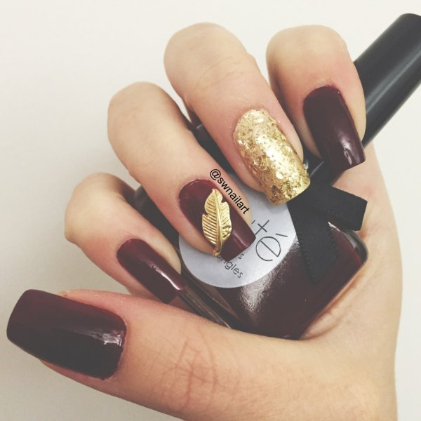 Gorgeous Burgundy with Gold - Gorgeous Burgundy With Gold - The Fiercest Feather Nail Art…
