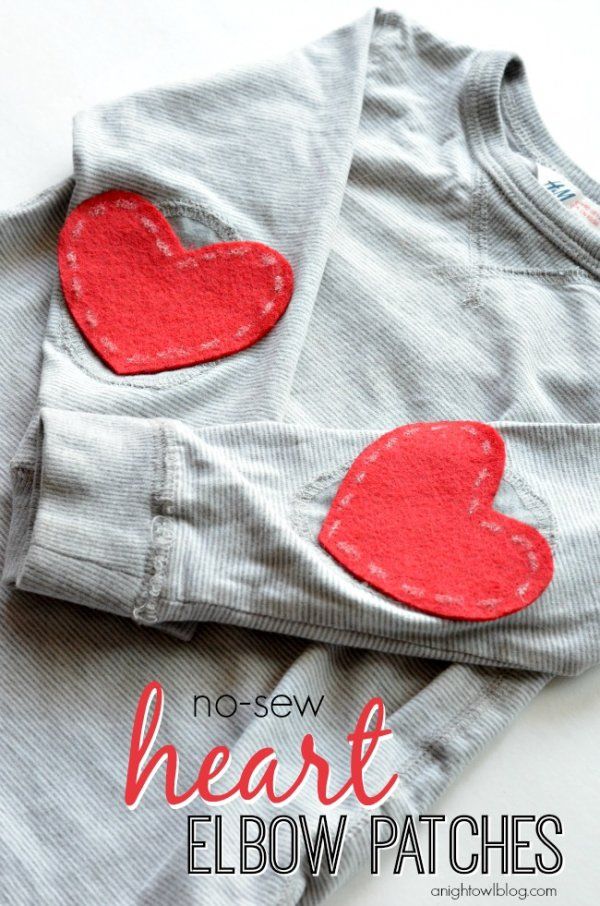 No Sew Heart Elbow Patches