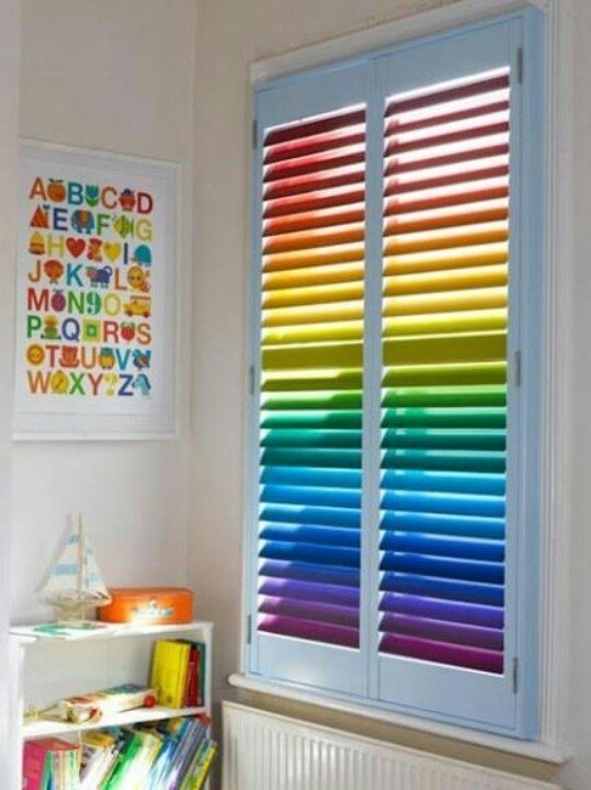 Rainbow blinds 25 epic playroom ideas your kids are for Blinds for kids rooms