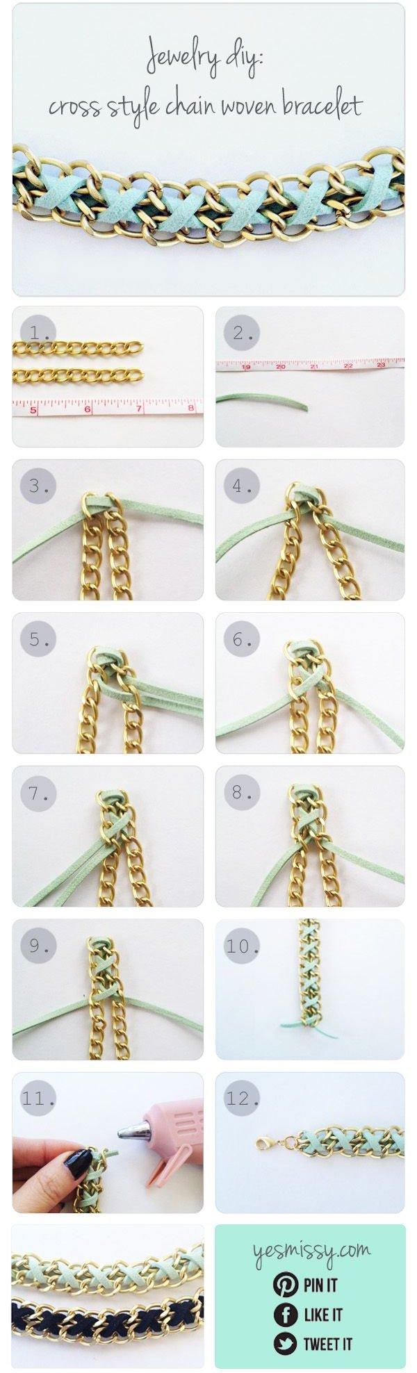 Cross Style Chain Woven Bracelet
