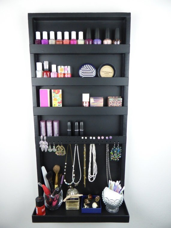 Black Makeup and Jewelry Organizer