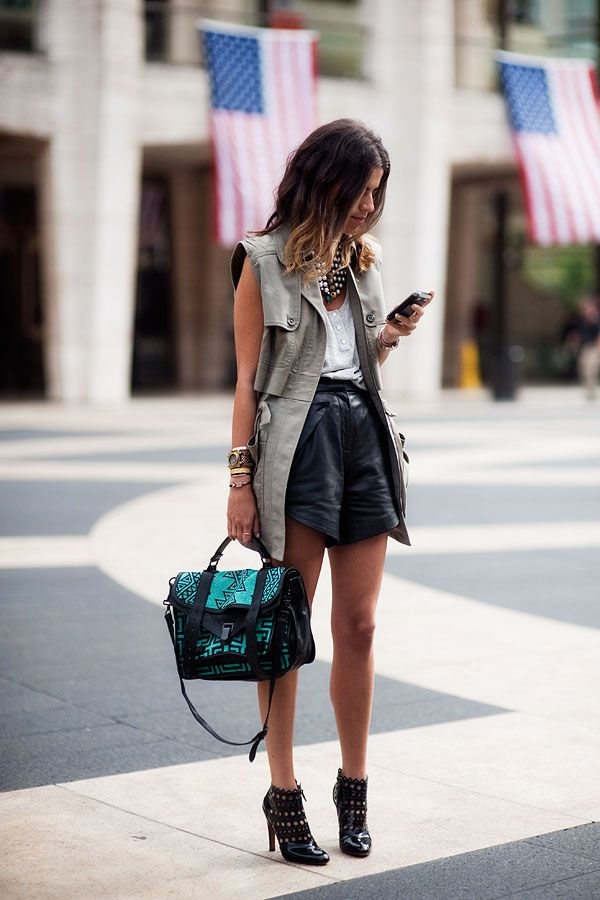 Let Your Outfit Speak for Itself. Say Yes to Black Faux Leather Shorts and Booties