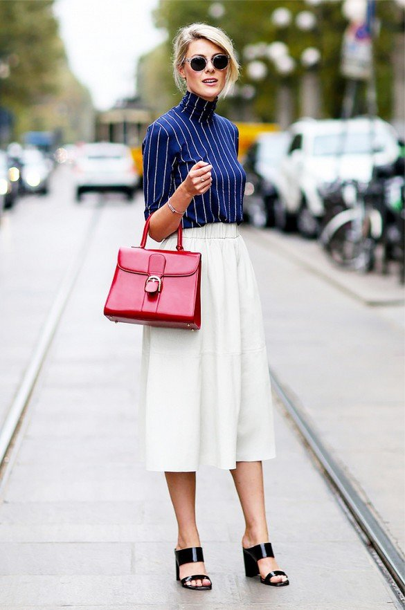 Striped Turtleneck Top with a White Skirt
