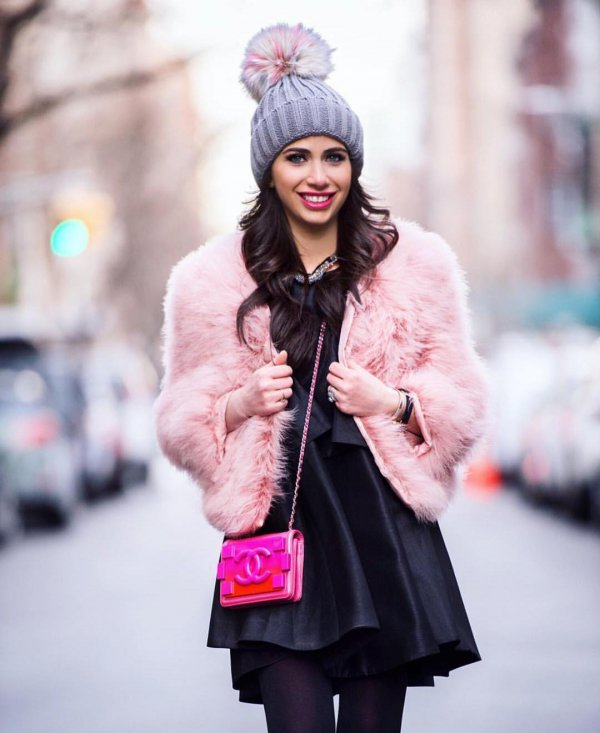clothing, pink, fur, cap, fur clothing,
