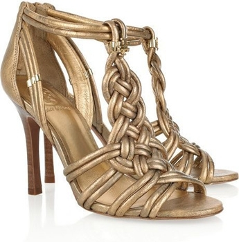 Tory Burch Constance Knotted Metallic Leather Sandals
