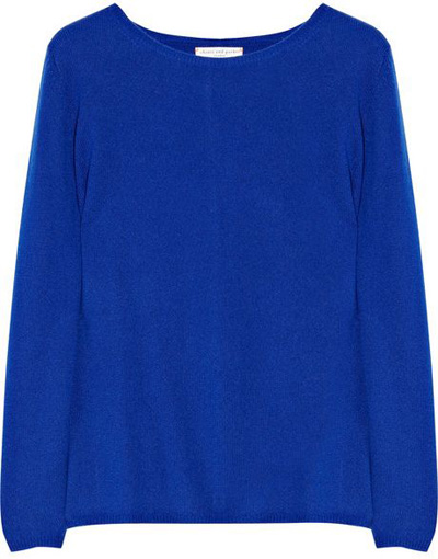 Chinti and Parker Contrast-Elbow Cashmere Sweater - 8 Cool Cobalt…