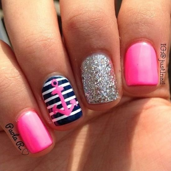 color,nail,finger,pink,nail care, - 21 Nautical Nail Art Ideas That Will Rock Your World …