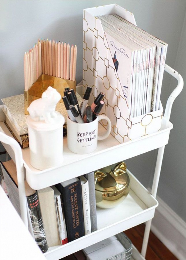 Put a Rolling Cart Next to Your Desk so You Have More Room