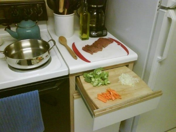 Small Kitchen? Cutting Boards and Drawers Work Wonders