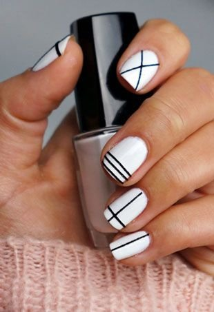 23 super easy nail art designs for lazy girls nails easy geometric nail art prinsesfo Image collections