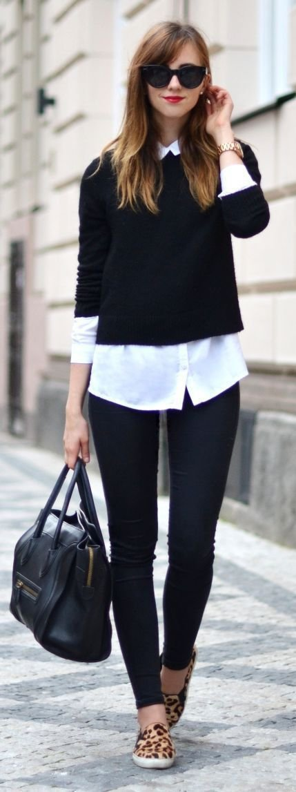 Simple Outfit with Leopard Sneakers