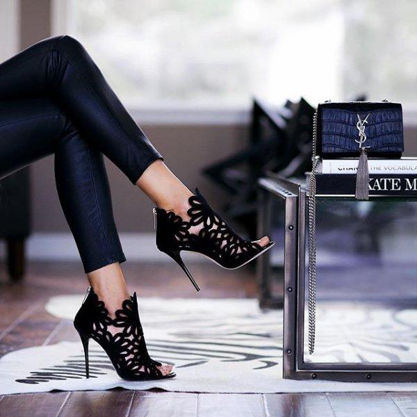 black, footwear, clothing, high heeled footwear, leather,