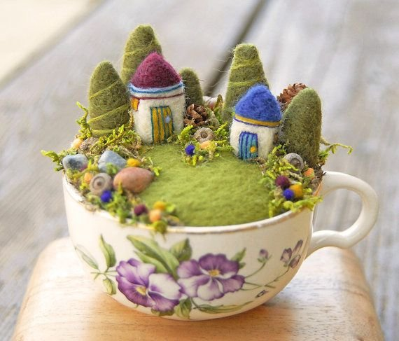 tiny fairy garden in a cup cuteness overload these teacup. Black Bedroom Furniture Sets. Home Design Ideas