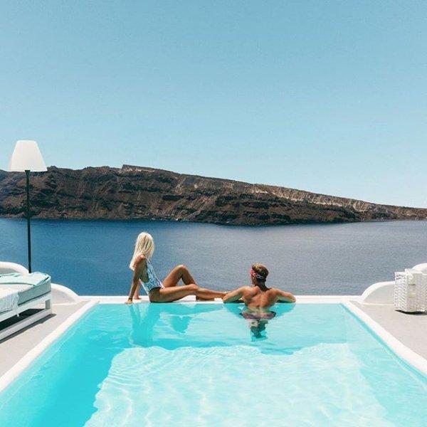 Santorini, vacation, luxury yacht, swimming pool, villa,